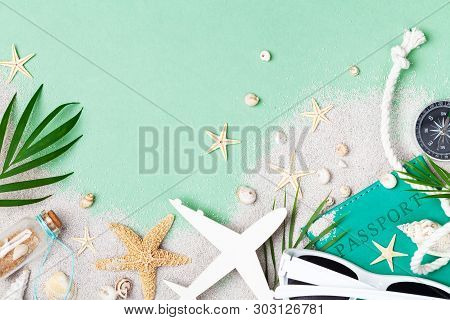 Flat Lay Composition With Summer Holidays, Vacation And Travel Accessories On Green Table Top View.
