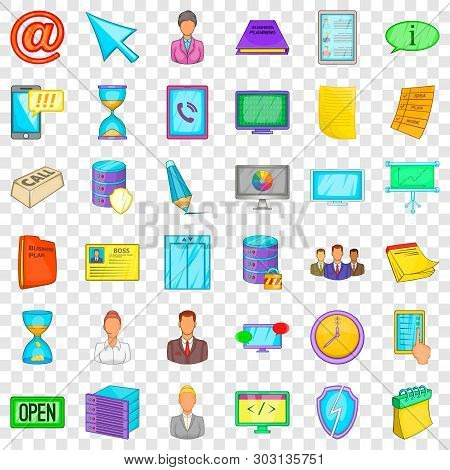 Ministry Icons Set. Cartoon Style Of 36 Ministry Vector Icons For Web For Any Design