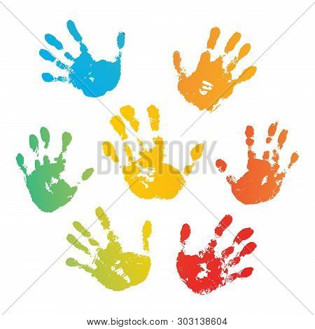 Hand Rainbow Print Isolated On White Background. Color Child Handprint. Creative Paint Hands Prints.