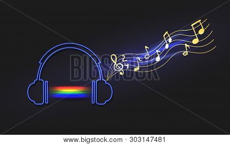 Vector Neon Abstract Rainbow Music Sound Light And Headphones With Notes, Isolated On Black Backgrou