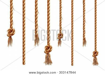 Set Of Isolated Hanging Ropes With Tassels. 3d Hemp String With Brush And Frayed Knot. Realistic Kno