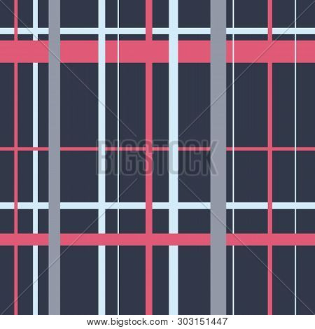 Endless Scottish Abstract Traditional Cell Grey Pattern. Seamless Tartan Square Ornament For Plaid,