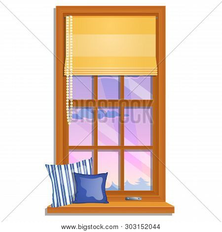 The Window Overlooking Of The Pink Sky And The Tops Of The Trees Isolated On White Background. Inter