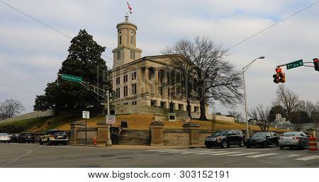 Nashville,tennessee/united States - January 10: Scene Of Tennessee State Capitol Building In Nashvil
