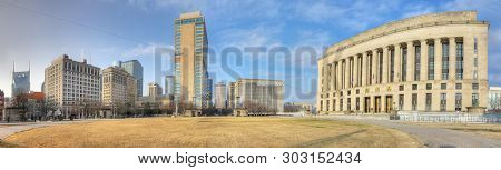 Nashville,tennessee/united States - January 10: Panorama Of The Nashville Public Square Park. The Fi