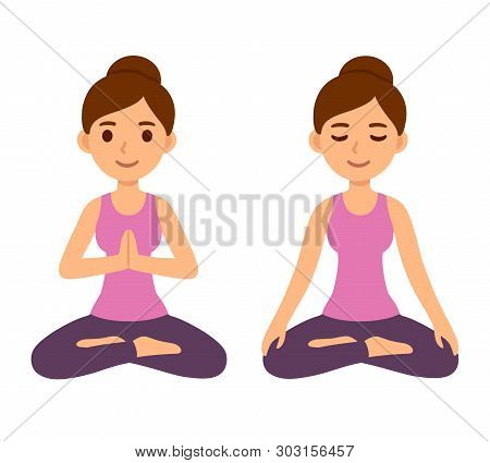 Cute Cartoon Young Woman Doing Yoga And Meditating In Lotus Pose. Mindfulness And Meditation Vector