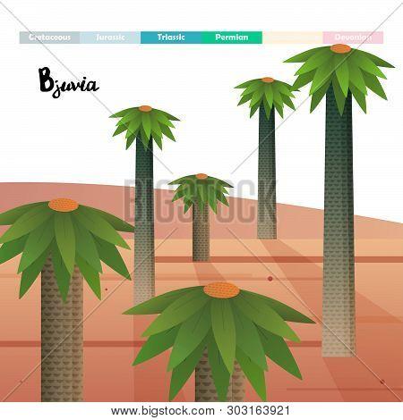 Bjuvia Simplex Age Giant Plants Prehistoric Vector Illustration