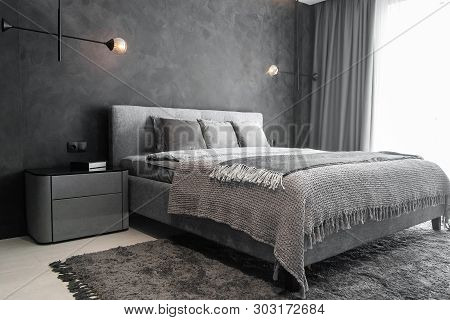 Master Bedroom For A Lonely Stylish Man, A Bachelor. Modern Room With Trendy Gray Interiors, Large K