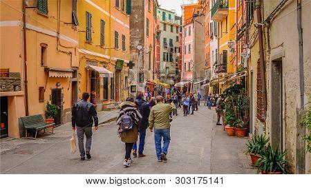 Vernazza, Italy - November 14th: Cinque Terre Fishing Village Of Vernazza In La Spezia, Italy On Nov
