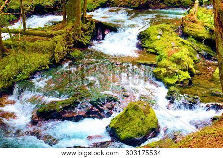 Panther Creek roaring during spring from snowmelt surrounded by rocks covered with moss taken in rural Washington State poster