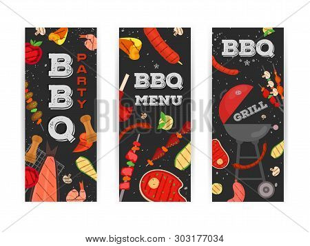 Modern Vector Barbecue Party, Menu, Invitation Design Template Set. Trendy Bbq Cookout Poster, Web B