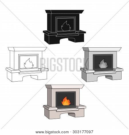 Fire, Warmth And Comfort. Fireplace Single Icon In Cartoon, Black Style Vector Symbol Stock Illustra