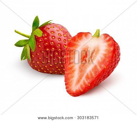Whole Beautiful Strawberry And Half Strawberry Isolated On White Background.
