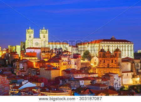 Porto Cathedral, Ribeira, Old Town At Night. Porto, Portugal