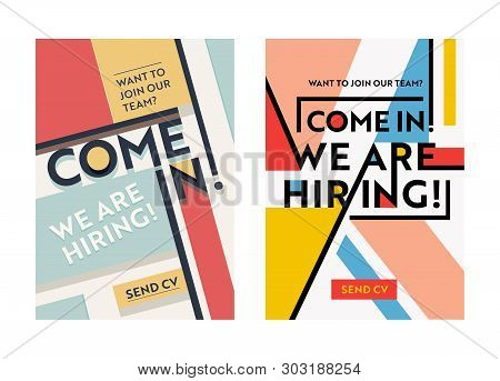 Business Recruiting Banner Design Set, Hiring Recruitment Posters, We Are Hiring Typography On Geome