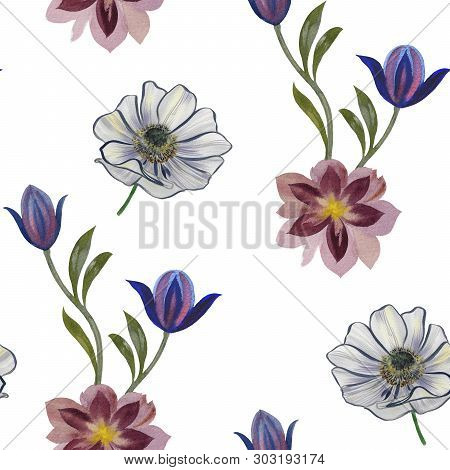 Seamless Watercolor Flowers Pattern. Hand Painted Flowers On A White Background. Flowers For Design.