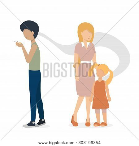 The Guy Smoking A Cigarette. Mother And Baby Are Standing Near. Flat Vector Illustration