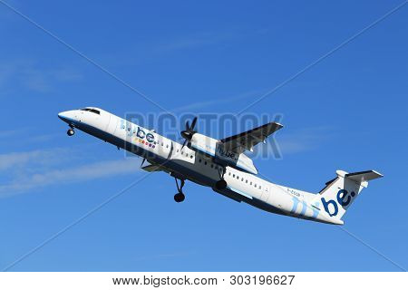 Amsterdam The Netherlands - May 24th, 2019: G-ecob Flybe De Havilland Canada Dhc-8-400 Takeoff From