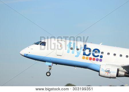 Amsterdam The Netherlands - May 24th, 2019: G-fbjj Flybe Embraer Erj-175 Takeoff From Polderbaan Run