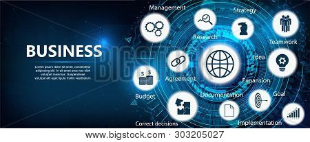 Business Components (budget, Documents, Teamwork, Agreement, Money, Implementation Plan, Strategy, I
