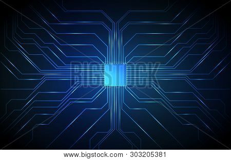 Circuit Board Background, Technology Cpu, Microprocessor Interface. Microchip Pattern For Design. Mi