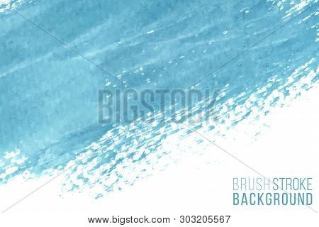 Vector Hand Drawn Watercolor Brush Stain As Horizontal Banner. Colorful Painted Stroke. Blue Color H