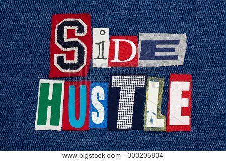 Side Hustle Text Word Collage Colorful Fabric On Denim, Entrepreneur, Horizontal Aspect