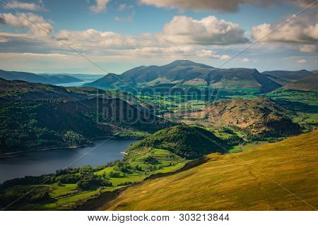 Green Valley And Thirlmere Lake Is Seen From Helvellyn In The English Lake District, Sunny Day, Hill