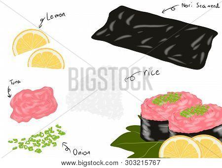 Japanese Food Style, Sushi Tuna Roll Or Negi Toro Ingredients With Tuna, Rice, Nori Seaweed, Lamon A
