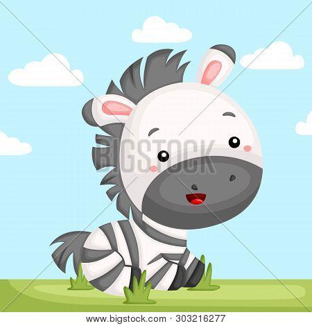 A Vector Of A Cute Zebra In A Grass