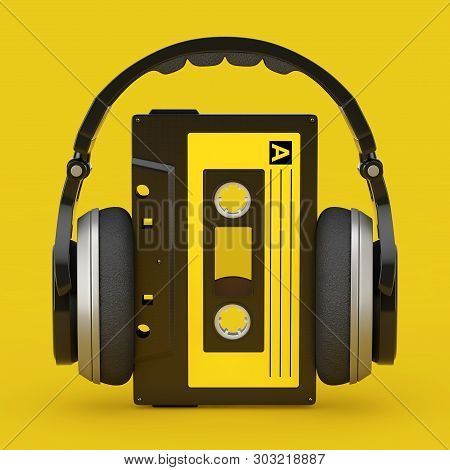 Headphones Over Old Vintage Audio Cassette Tape On A Yellow Background. 3d Rendering