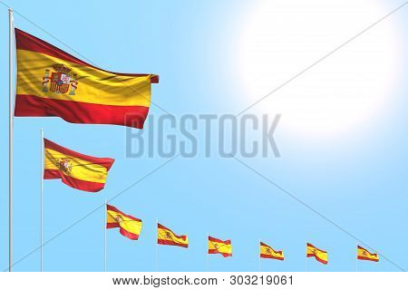 Pretty Feast Flag 3d Illustration  - Many Spain Flags Placed Diagonal On Blue Sky With Place For You