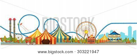 Amusement Park, Carousel Swing, Circus Tents On City Landscape Background, Fan Fire Show, Carnival V
