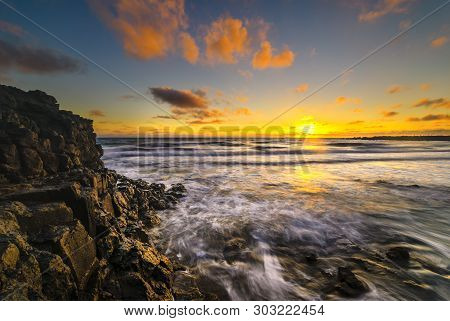 Beautiful Seascape That Was Created On The Volcanic Coast Of Lanzarote