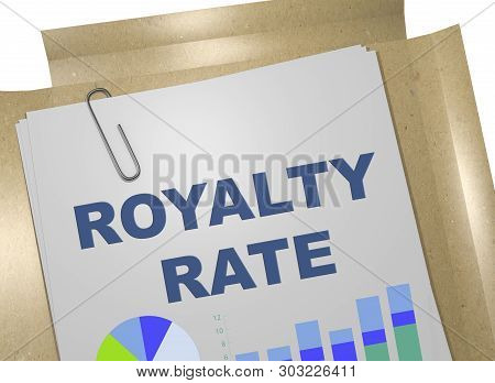 3D illustration of ROYALTY RATE title on business document poster