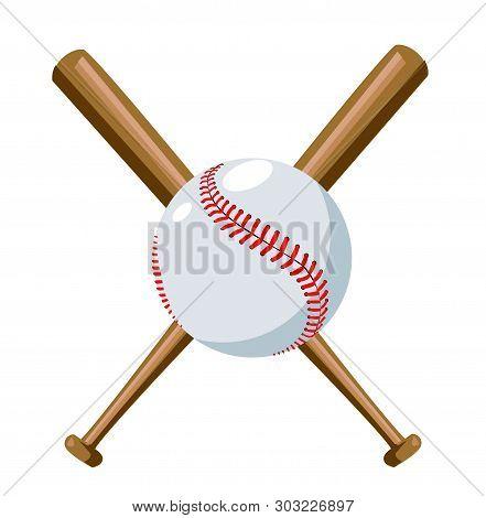 Baseball Illustration With Baseball Bat On White