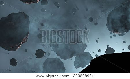 3d Illustration Of Lots Of Asteroid Rocks With Some Large Inside A Light Blue Fog With A Star Cold B