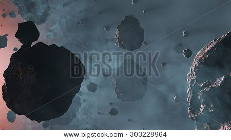 3d Illustration Of Lots Of Asteroid Rocks With Some Large Inside A Light Blue Fog With A Star Red Gl