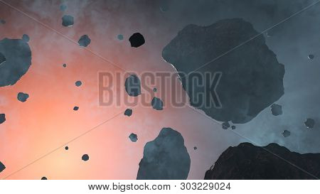 3d Illustration Of Some Large And Small Asteroid Rocks Inside A Light Blue Fog With The Red Glow Of