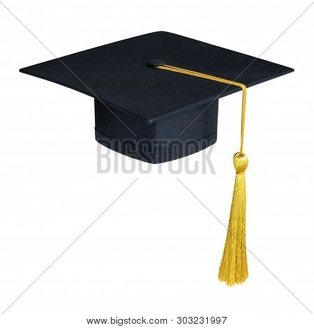 Graduation Hat, Academic Cap Or Mortarboard In Black Isolated On White Background (clipping Path) Fo