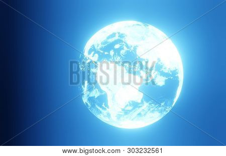 3d Planet Earth On A Glowing Black Background