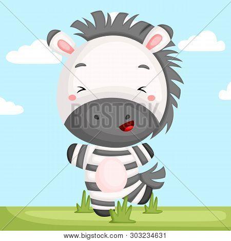 A Vector Of A Adorable Zebra Dancing In A Grass