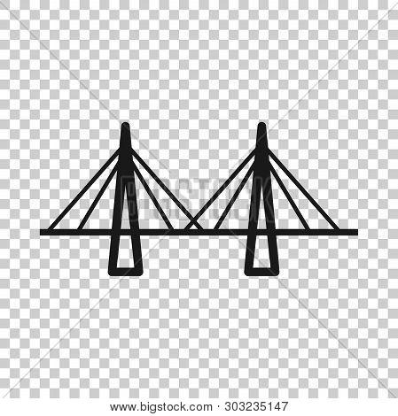 Bridge Sign Icon In Transparent Style. Drawbridge Vector Illustration On Isolated Background. Road B