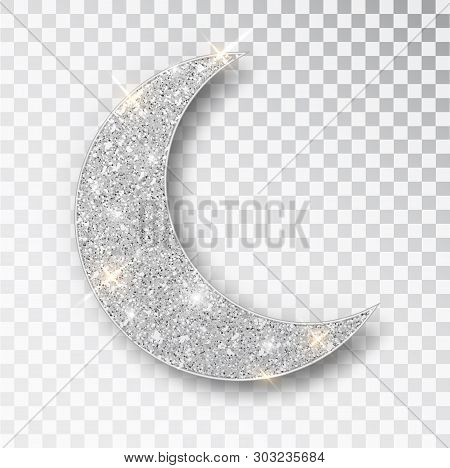 Crescent Islamic For Ramadan Kareem Design Element Isolated. Silver Glitter Moon Vector Icon Of Cres