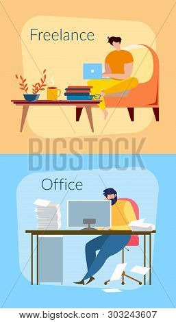 Freelancer Man At Home With Notebook. Male Worker At Office Table Vector Illustration. Freelance And