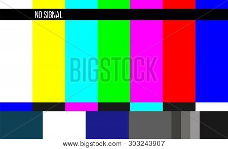 Creative Illustration Of No Signal Tv Test Pattern Background. Television Screen Error. Smpte Color