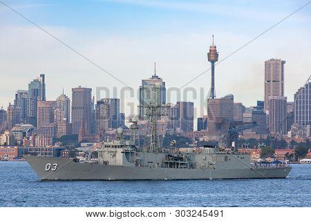 Sydney, Australia - October 5, 2013: Hmas Sydney (ffg 03) Adelaide-class Guided-missile Frigate Of T