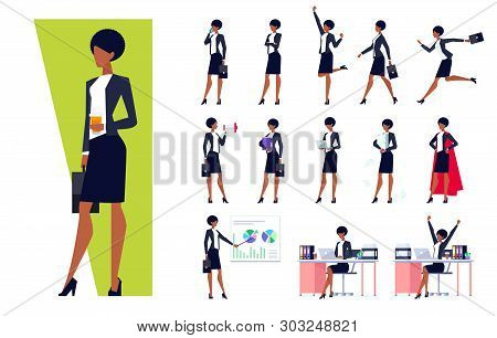 African American Businesswoman In Different Situations Set, Successful Confident Woman In Office Clo