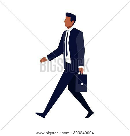 African American Businessman With Briefcase Going To Work, Walking In Profile, Man In Office Clothes