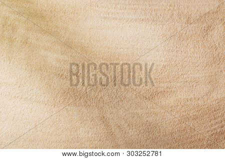 Sandy Beach Background Top View. Sand Texture With Copy Space